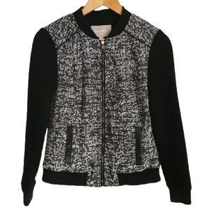 3/30$ BANANA REPUBLIC Stretchy Cotton Tweed Black & White Zipper Bomber Size XS